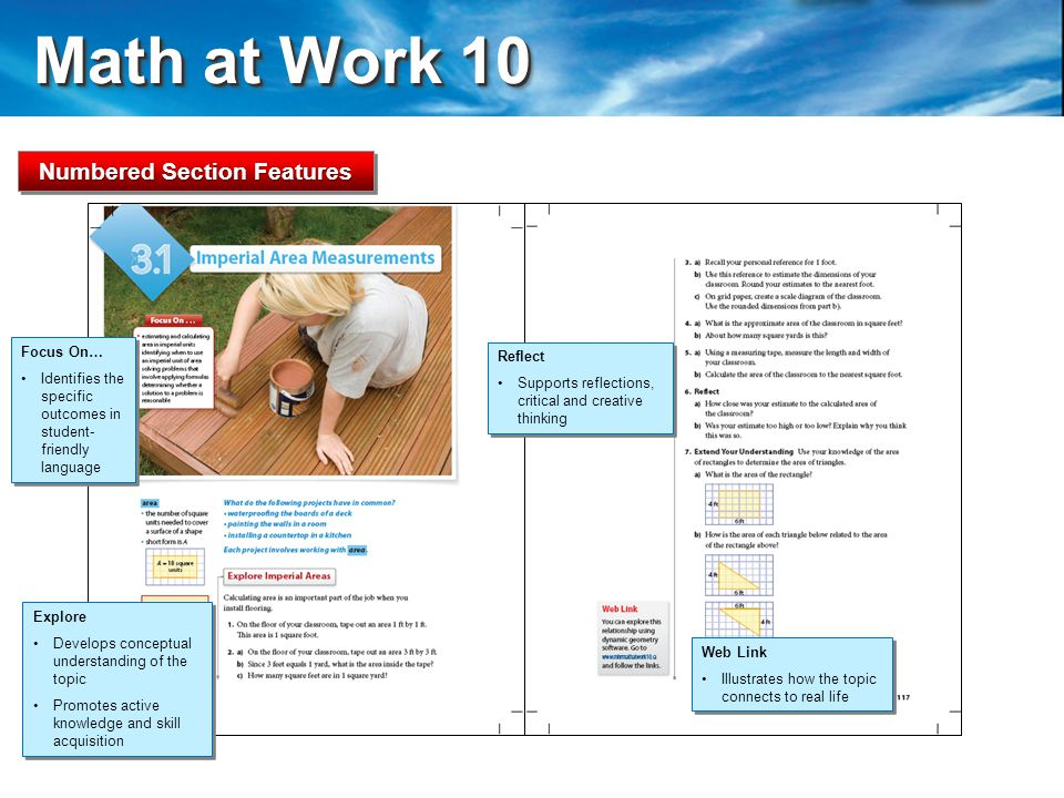 Math at Work 10 Math at Work 10 Web Link Illustrates how the topic connects to real life Web Link Illustrates how the topic connects to real life Focus On… Identifies the specific outcomes in student- friendly language Focus On… Identifies the specific outcomes in student- friendly language Explore Develops conceptual understanding of the topic Promotes active knowledge and skill acquisition Explore Develops conceptual understanding of the topic Promotes active knowledge and skill acquisition Reflect Supports reflections, critical and creative thinking Reflect Supports reflections, critical and creative thinking Numbered Section Features