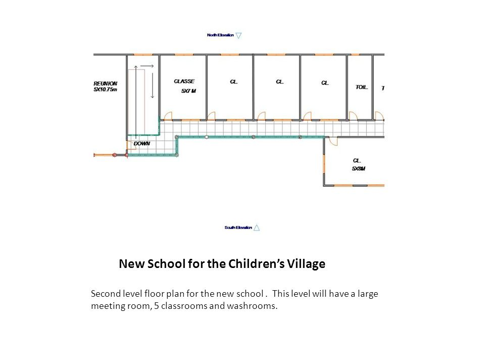 New School for the Children's Village Second level floor plan for the new school.