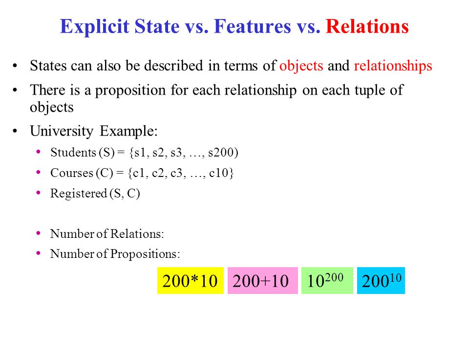 Explicit State vs. Features vs. Relations States can also be described in terms of objects and relationships There is a proposition for each relations