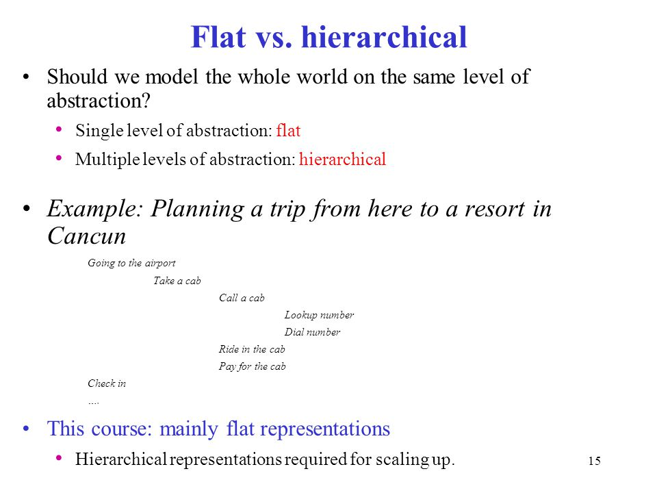 Flat vs. hierarchical Should we model the whole world on the same level of abstraction? Single level of abstraction: flat Multiple levels of abstracti