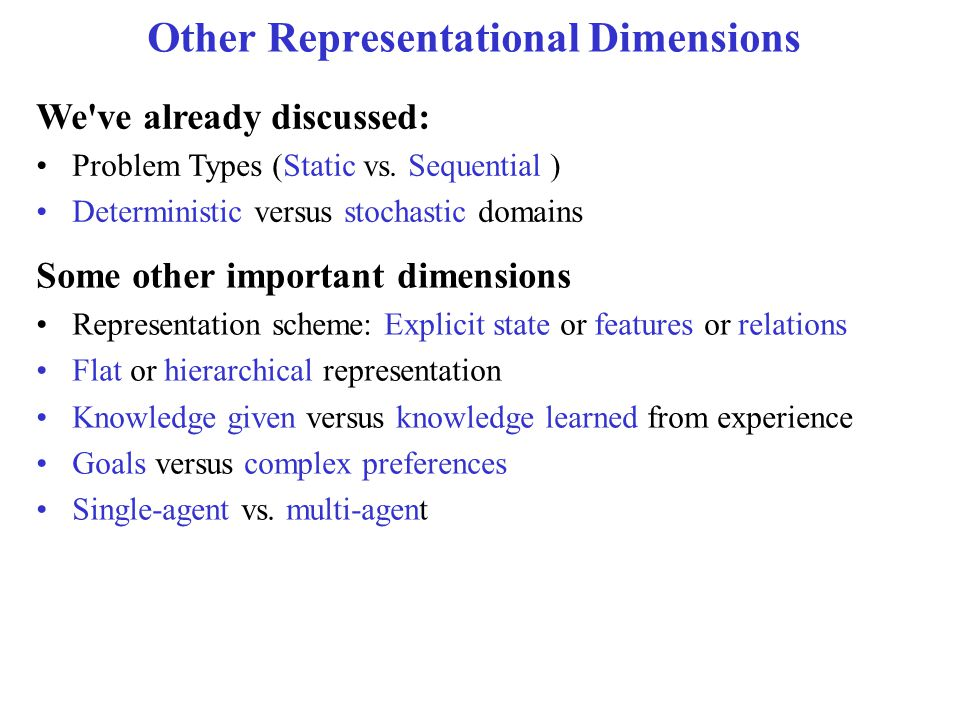 Today's Lecture Recap from last lecture Other representational dimensions AI applications
