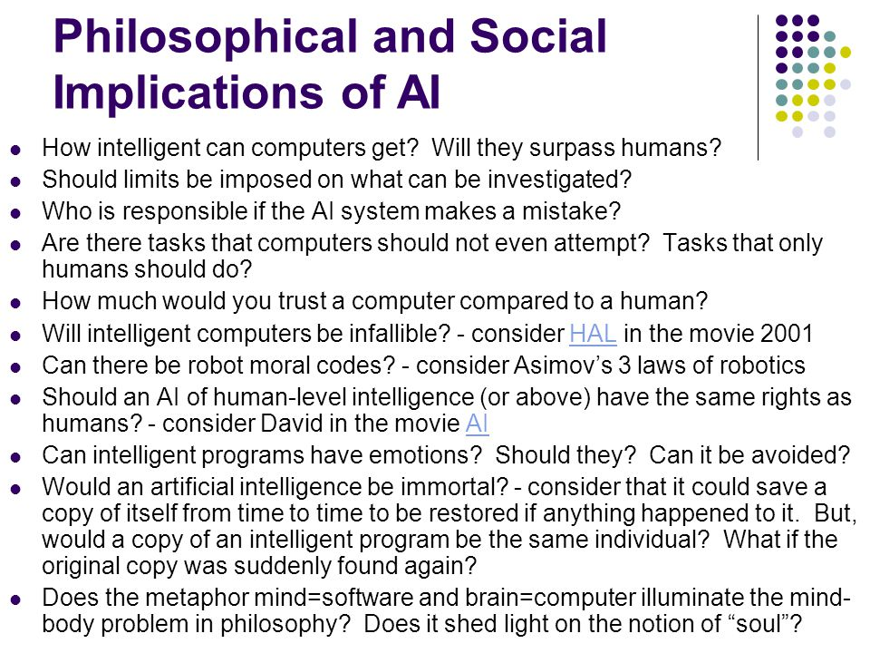 How intelligent can computers get? Will they surpass humans? Should limits be imposed on what can be investigated? Who is responsible if the AI system