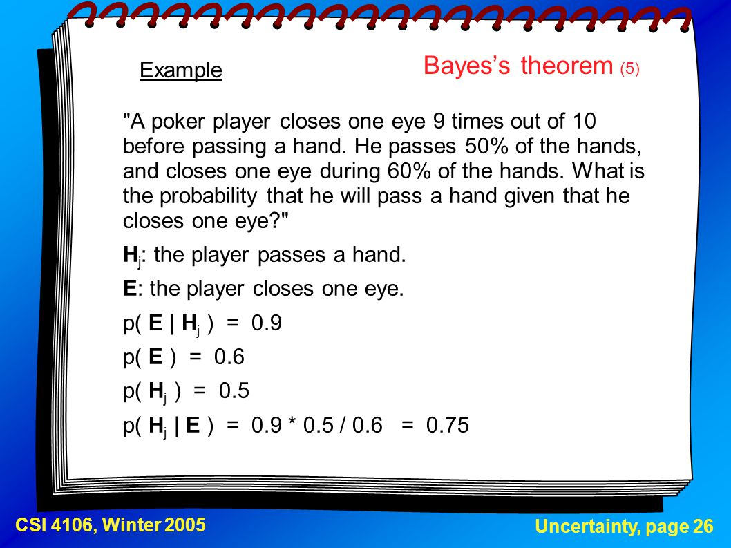 Uncertainty, page 26 CSI 4106, Winter 2005 Bayes's theorem (5)