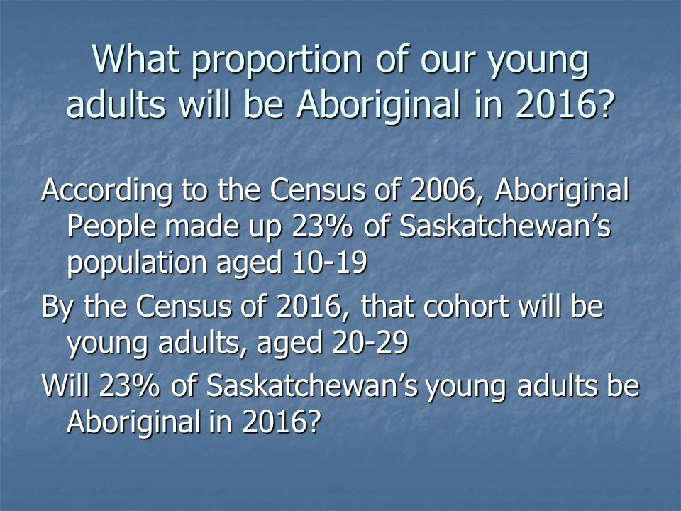 What proportion of our young adults will be Aboriginal in 2016.