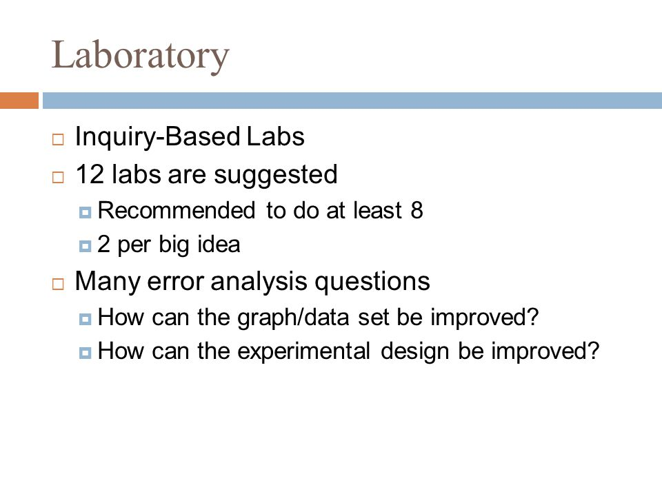 Laboratory  Inquiry-Based Labs  12 labs are suggested  Recommended to do at least 8  2 per big idea  Many error analysis questions  How can the graph/data set be improved.