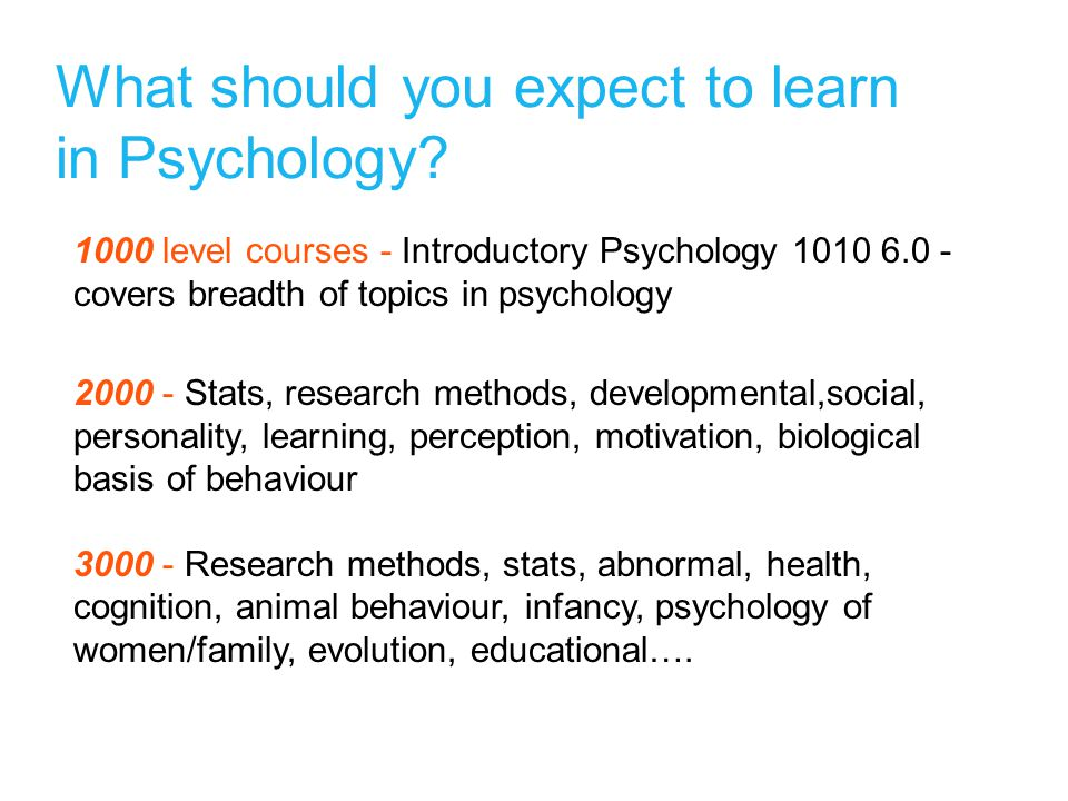 What should you expect to learn in Psychology.