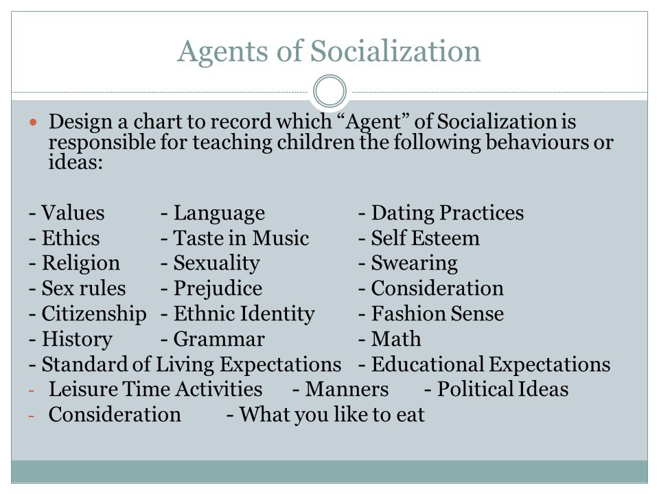 Agents of Socialization Design a chart to record which Agent of Socialization is responsible for teaching children the following behaviours or ideas: - Values- Language- Dating Practices - Ethics- Taste in Music- Self Esteem - Religion- Sexuality- Swearing - Sex rules- Prejudice- Consideration - Citizenship- Ethnic Identity- Fashion Sense - History- Grammar- Math - Standard of Living Expectations- Educational Expectations - Leisure Time Activities- Manners- Political Ideas - Consideration- What you like to eat