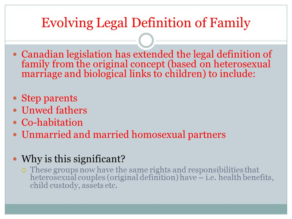 Canadian legislation has extended the legal definition of family from the original concept (based on heterosexual marriage and biological links to children) to include: Step parents Unwed fathers Co-habitation Unmarried and married homosexual partners Why is this significant.