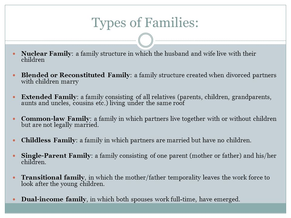 Types of Families: Nuclear Family: a family structure in which the husband and wife live with their children Blended or Reconstituted Family: a family structure created when divorced partners with children marry Extended Family: a family consisting of all relatives (parents, children, grandparents, aunts and uncles, cousins etc.) living under the same roof Common-law Family: a family in which partners live together with or without children but are not legally married.