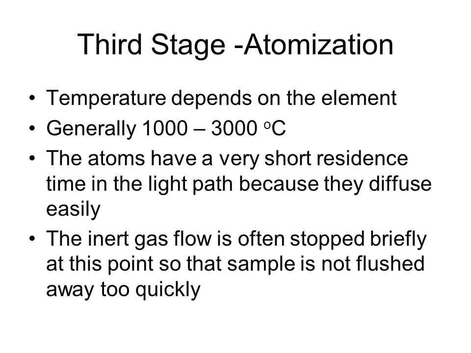 Third Stage -Atomization Temperature depends on the element Generally 1000 – 3000 o C The atoms have a very short residence time in the light path bec