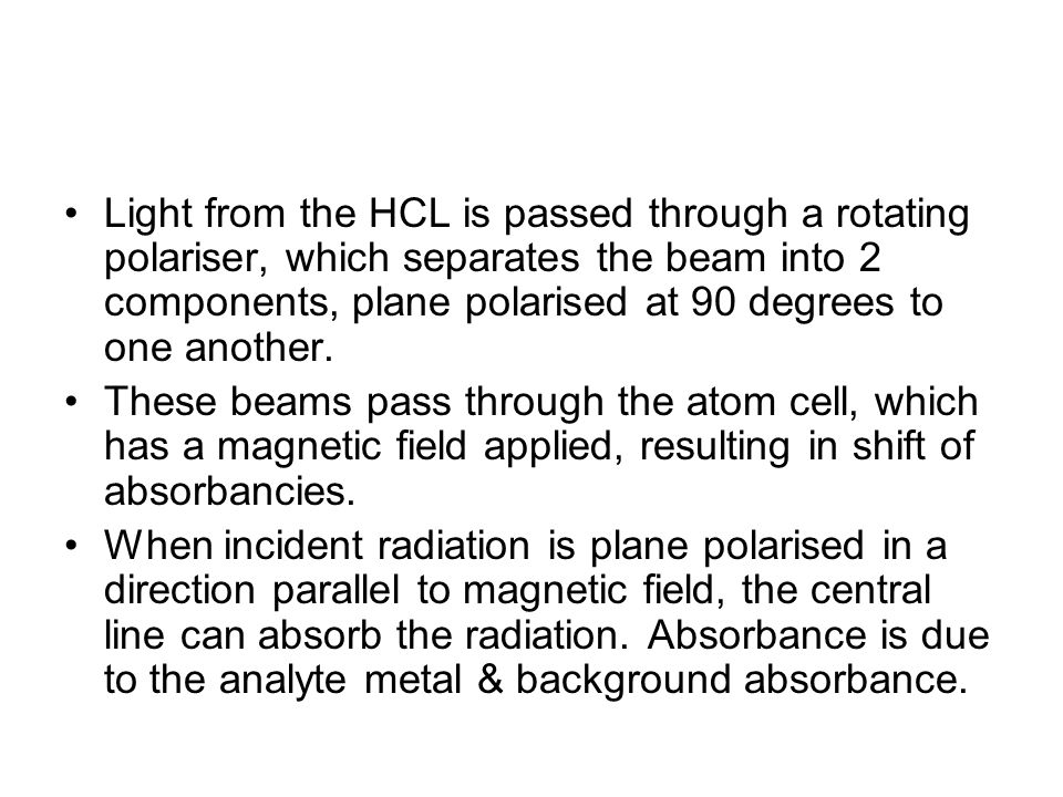Light from the HCL is passed through a rotating polariser, which separates the beam into 2 components, plane polarised at 90 degrees to one another.