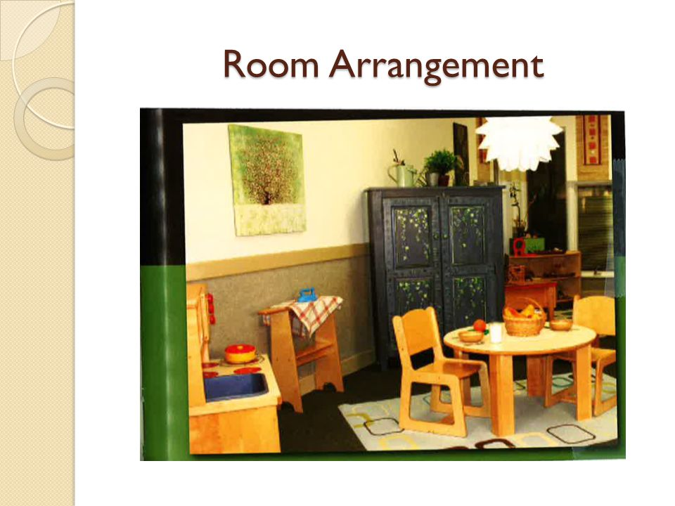 Provide variety of learning areas When placing learning areas, consider their function and their mood – consider how to define space Be aware of space needs for different learning areas – is there enough room for children to engage with materials.