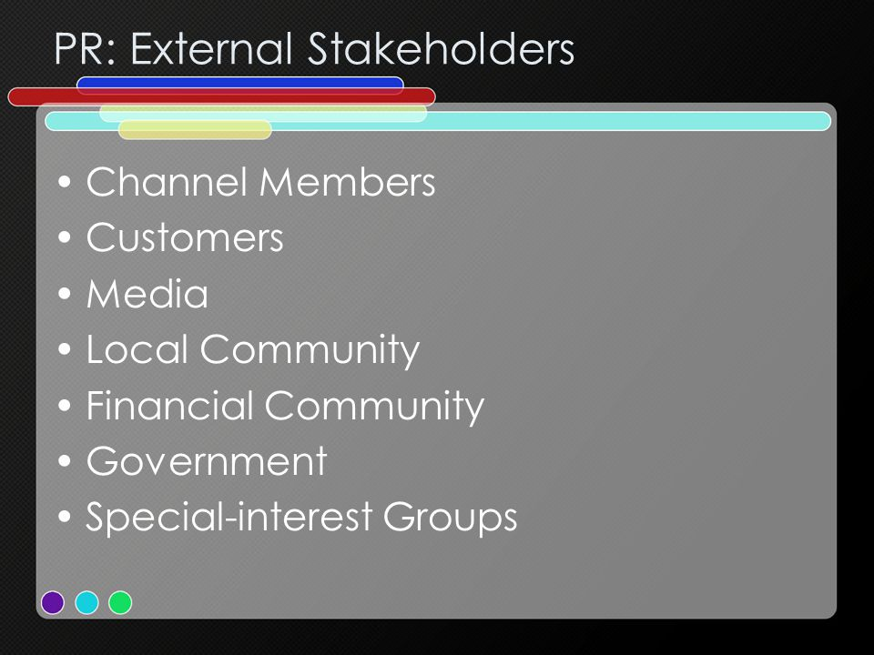 PR: External Stakeholders Channel Members Customers Media Local Community Financial Community Government Special-interest Groups