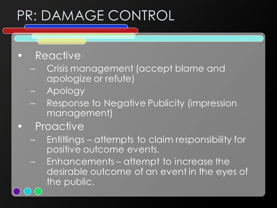 PR: DAMAGE CONTROL Reactive –Crisis management (accept blame and apologize or refute) –Apology –Response to Negative Publicity (impression management)