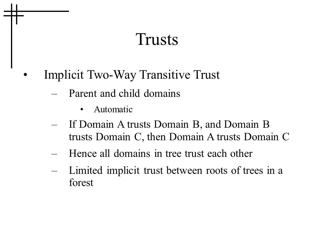 Trusts Implicit Two-Way Transitive Trust –Parent and child domains Automatic –If Domain A trusts Domain B, and Domain B trusts Domain C, then Domain A