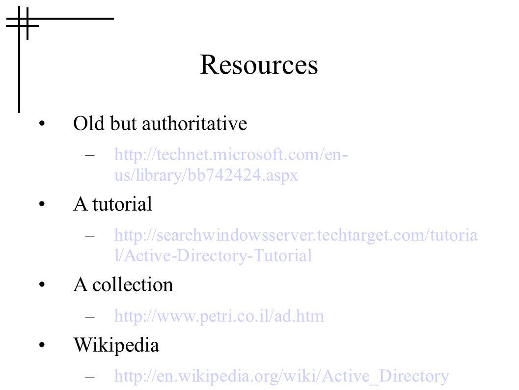 Resources Old but authoritative –http://technet.microsoft.com/en- us/library/bb742424.aspx A tutorial –http://searchwindowsserver.techtarget.com/tutor