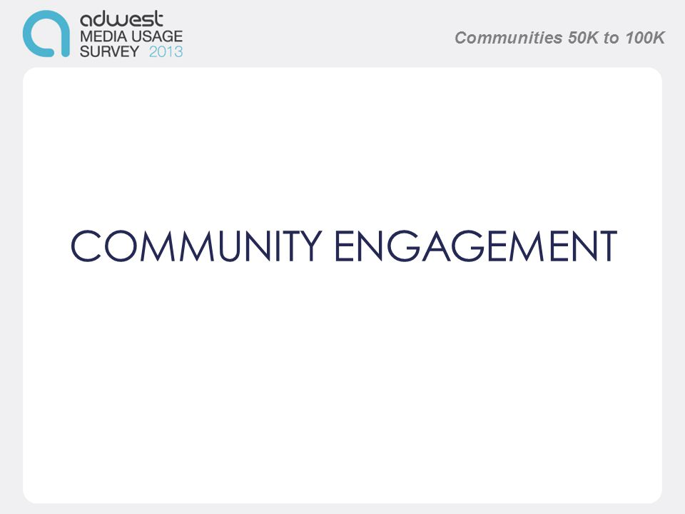 COMMUNITY ENGAGEMENT Communities 50K to 100K