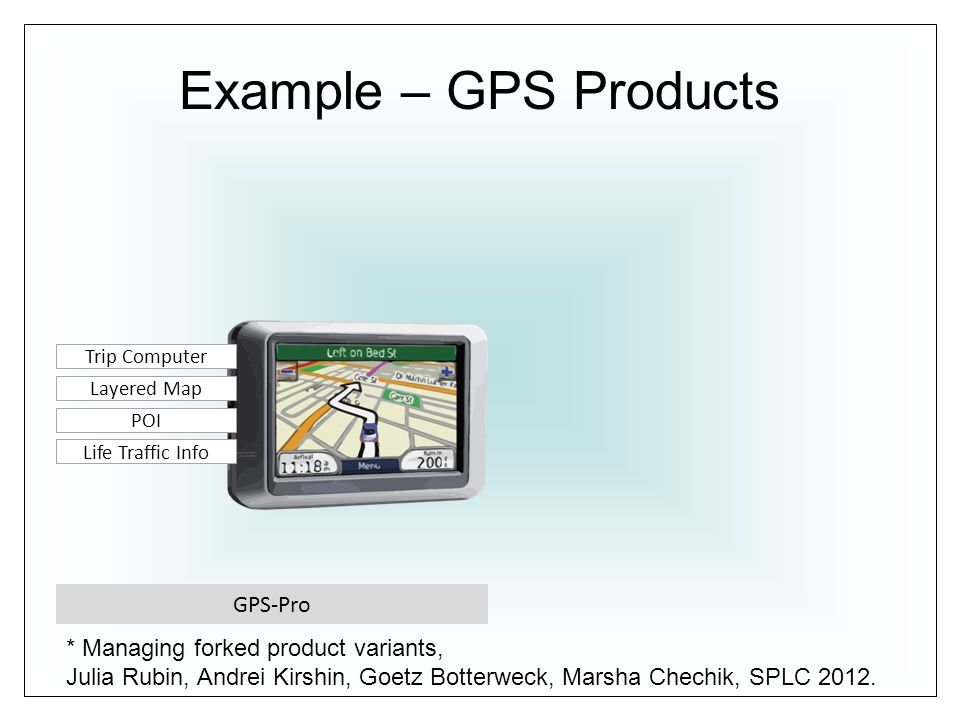 Example – GPS Products GPS-Pro Life Traffic Info POI Layered Map Trip Computer * Managing forked product variants, Julia Rubin, Andrei Kirshin, Goetz Botterweck, Marsha Chechik, SPLC 2012.
