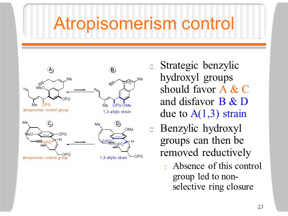 23 Atropisomerism control Strategic benzylic hydroxyl groups should favor A & C and disfavor B & D due to A(1,3) strain Benzylic hydroxyl groups can then be removed reductively Absence of this control group led to non- selective ring closure