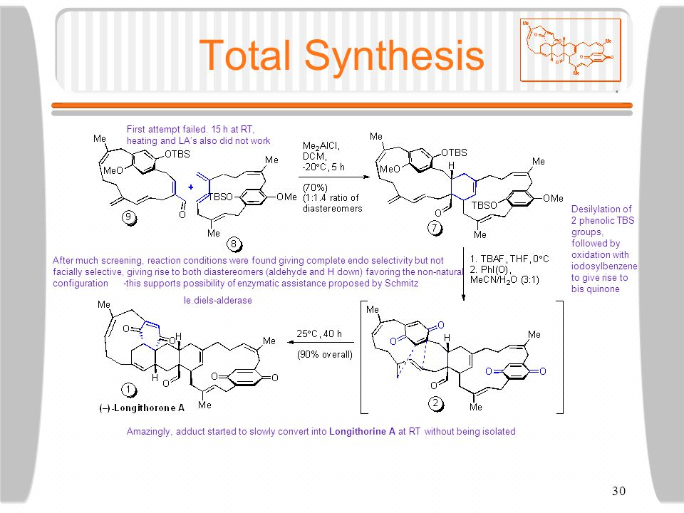 30 Total Synthesis First attempt failed.