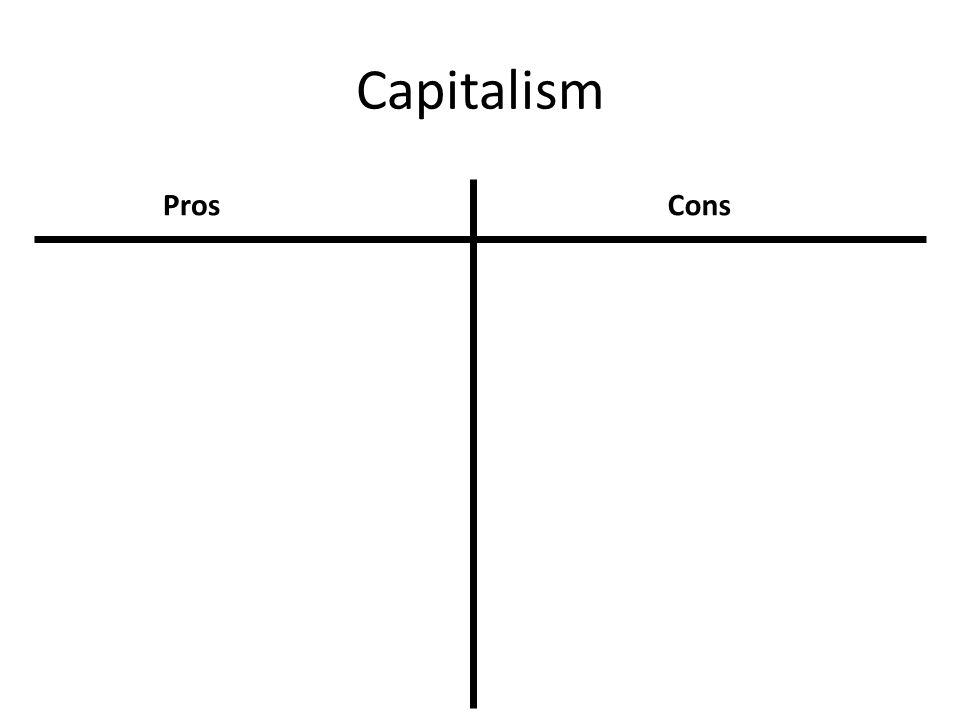 Take 5 minutes and think about the pros and cons of Capitalism and Socialism. Complete a T-Chart for each using the following guideline.