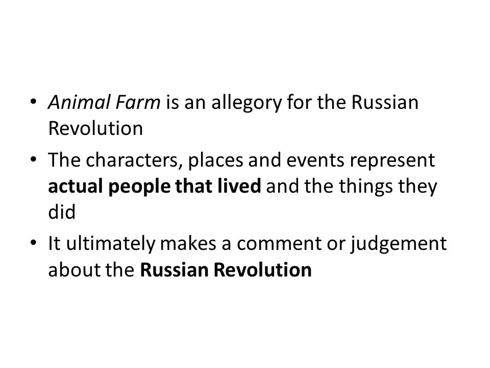 In 1924 Lenin died and there was a power struggle between his 2 closest followers to take his place The first ½ of Animal Farm describes this struggle