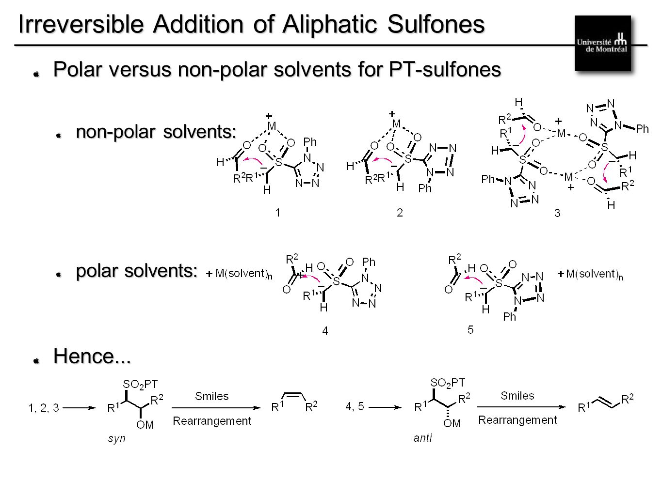 __________________________________________ Irreversible Addition of Aliphatic Sulfones Polar versus non-polar solvents for PT-sulfones non-polar solvents: polar solvents: Hence...