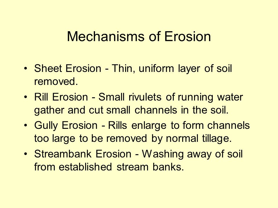Mechanisms of Erosion Sheet Erosion - Thin, uniform layer of soil removed. Rill Erosion - Small rivulets of running water gather and cut small channel