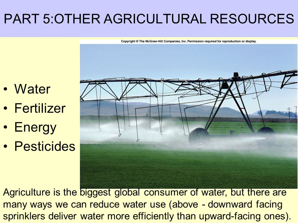 PART 5:OTHER AGRICULTURAL RESOURCES Water Fertilizer Energy Pesticides Agriculture is the biggest global consumer of water, but there are many ways we