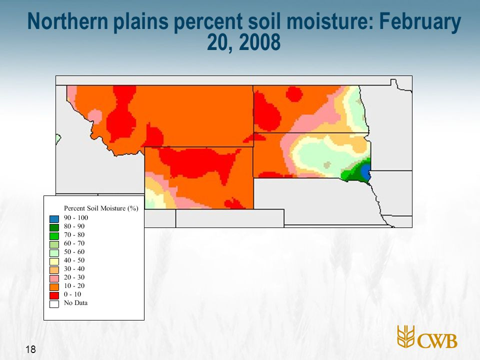 18 Northern plains percent soil moisture: February 20, 2008