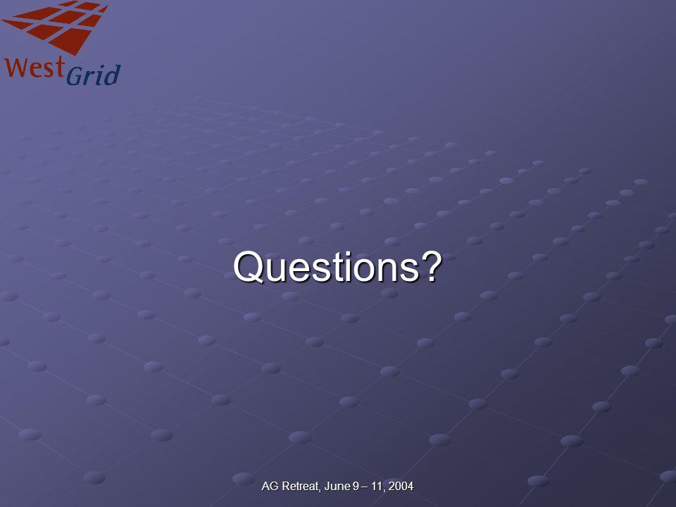 AG Retreat, June 9 – 11, 2004 Questions?