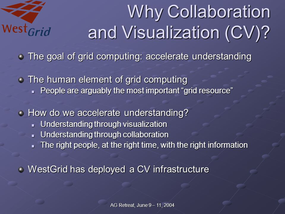 AG Retreat, June 9 – 11, 2004 Why Collaboration and Visualization (CV).