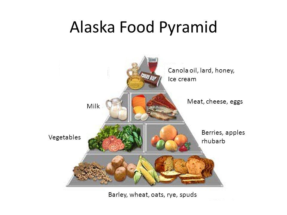 Alaska Food Pyramid Barley, wheat, oats, rye, spuds Berries, apples rhubarb Meat, cheese, eggs Vegetables Milk Canola oil, lard, honey, Ice cream
