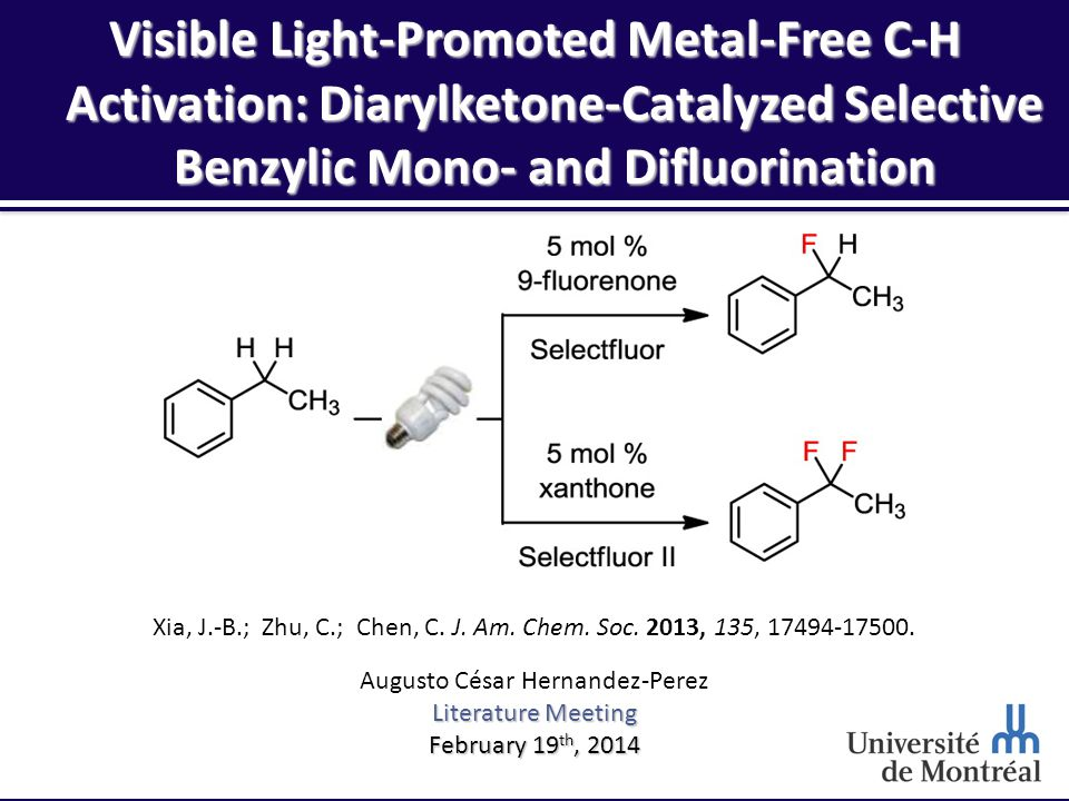 Reaction Conditions – Optimization 12 Features:  Use of visible light effective with compact fluorescent lamp (cheap!)  9-fluorenone has suitable chromophore for visible light  Ir(ppy) 3 does not promote benzylic fluorination  Not water sensitive but oxygen sensitive  Cheap electrophilic fluorine source 4,2$/g5,7$/g21,3$/g 76,1$/g49,2$/g