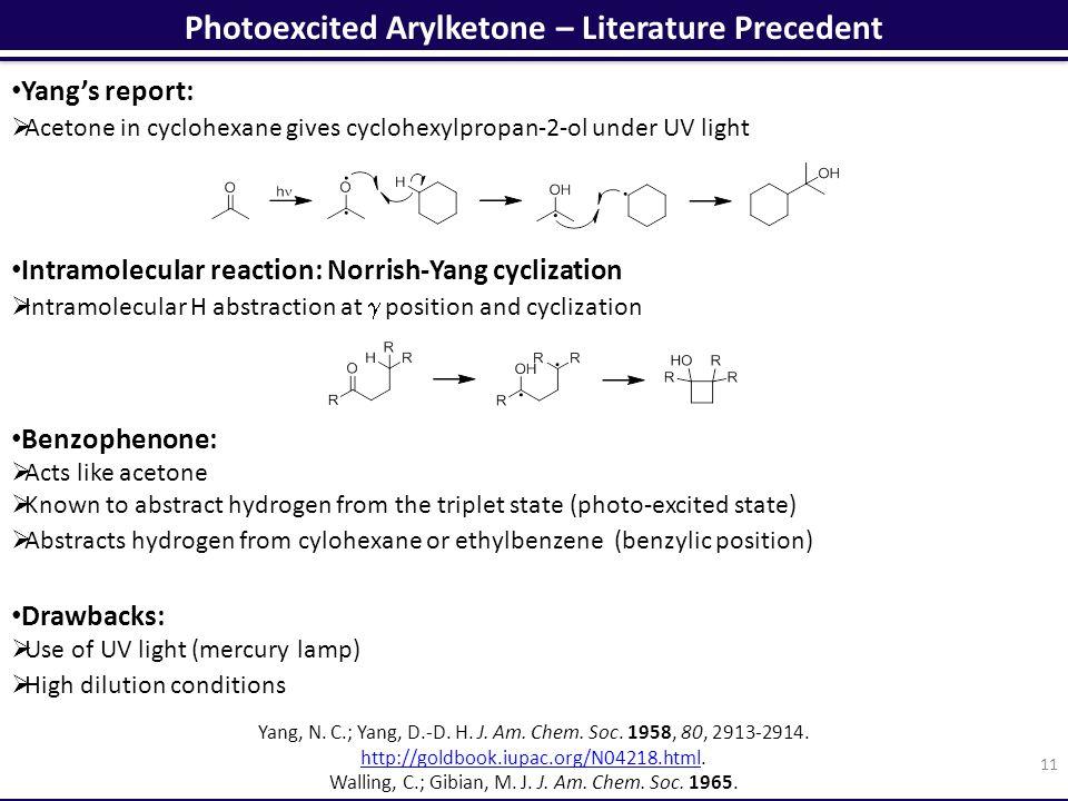 Photoexcited Arylketone – Literature Precedent 11 Yang, N.