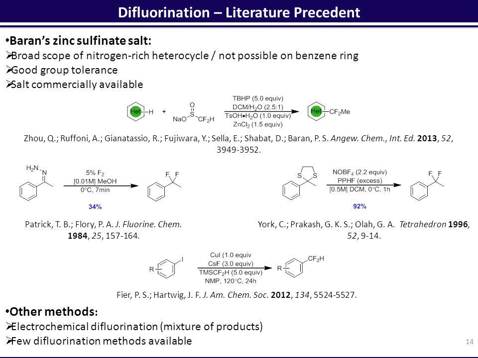 Difluorination – Literature Precedent 14 Zhou, Q.; Ruffoni, A.; Gianatassio, R.; Fujiwara, Y.; Sella, E.; Shabat, D.; Baran, P.