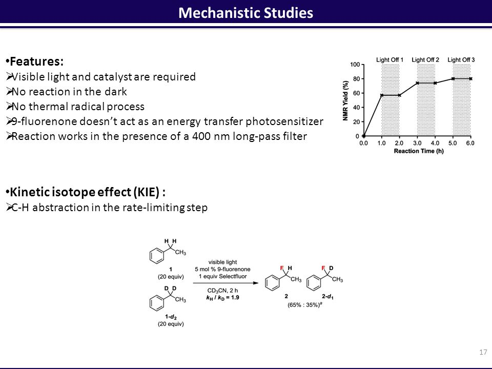 Mechanistic Studies 17 Features:  Visible light and catalyst are required  No reaction in the dark  No thermal radical process  9-fluorenone doesn't act as an energy transfer photosensitizer  Reaction works in the presence of a 400 nm long-pass filter Kinetic isotope effect (KIE) :  C-H abstraction in the rate-limiting step