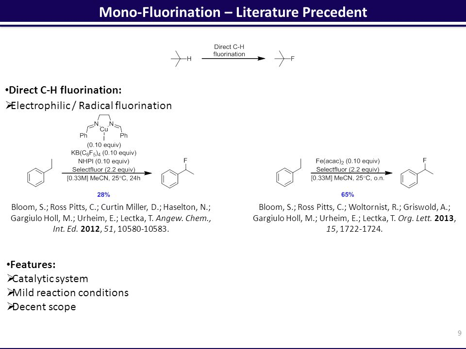 Conclusions 20 Monofluorination:  Mild reaction conditions  Broad scope Difluorination:  Mild reaction conditions  First catalytic C-H difluorination General  Use of visible light  Application to gram scale reactions  No transition-metal required Further improvements:  Use of continuous-flow conditions  Application to the synthesis of a drug