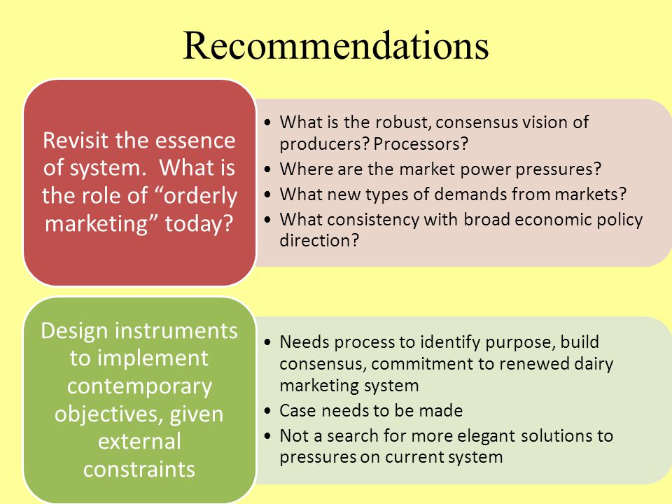 Recommendations What is the robust, consensus vision of producers? Processors? Where are the market power pressures? What new types of demands from ma