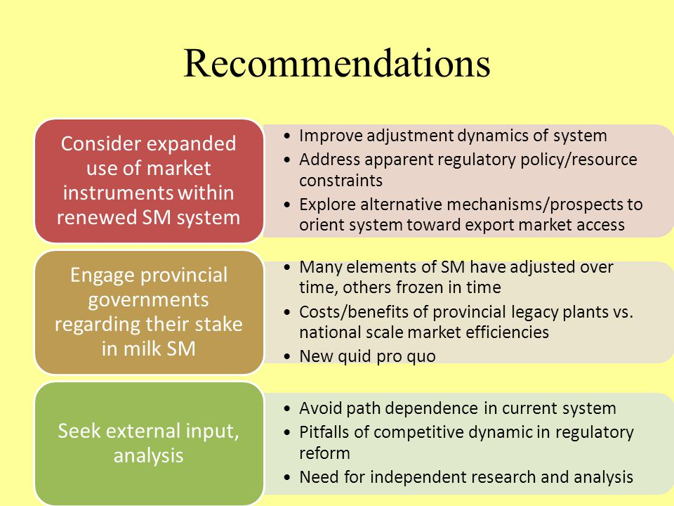 Recommendations Improve adjustment dynamics of system Address apparent regulatory policy/resource constraints Explore alternative mechanisms/prospects