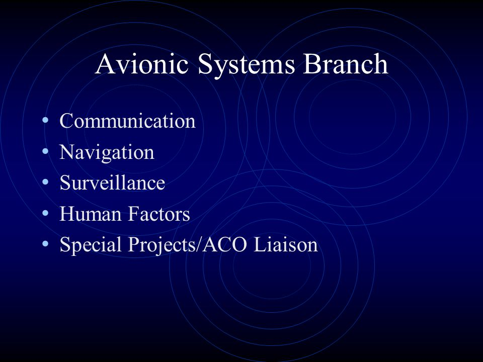 Avionic Systems Branch Communication Navigation Surveillance Human Factors Special Projects/ACO Liaison