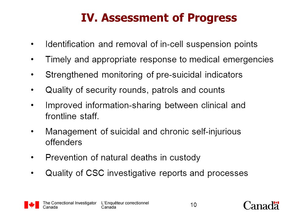 IV. Assessment of Progress Identification and removal of in-cell suspension points Timely and appropriate response to medical emergencies Strengthened