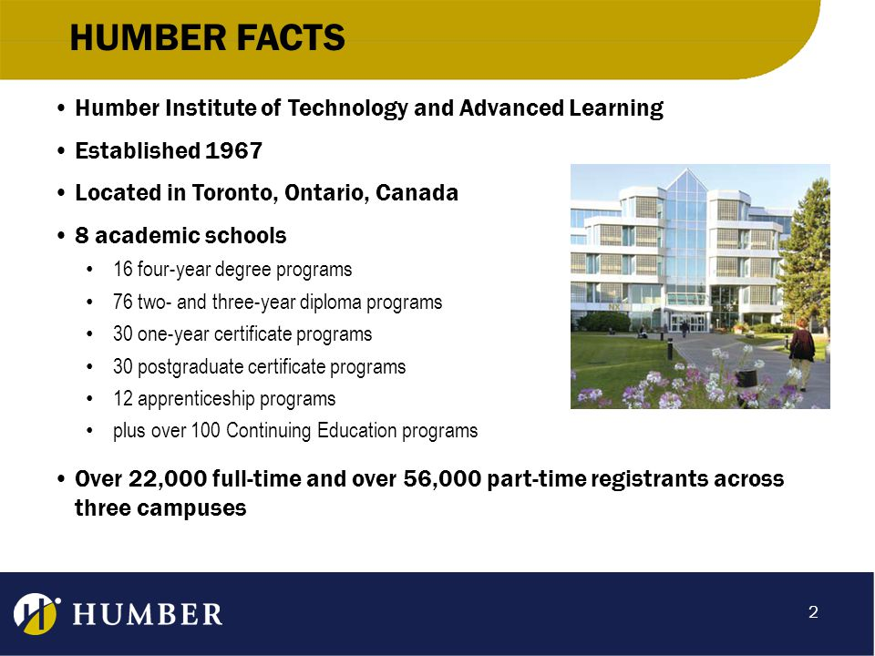 HUMBER FACTS Humber Institute of Technology and Advanced Learning Established 1967 Located in Toronto, Ontario, Canada 8 academic schools 16 four-year degree programs 76 two- and three-year diploma programs 30 one-year certificate programs 30 postgraduate certificate programs 12 apprenticeship programs plus over 100 Continuing Education programs Over 22,000 full-time and over 56,000 part-time registrants across three campuses 2