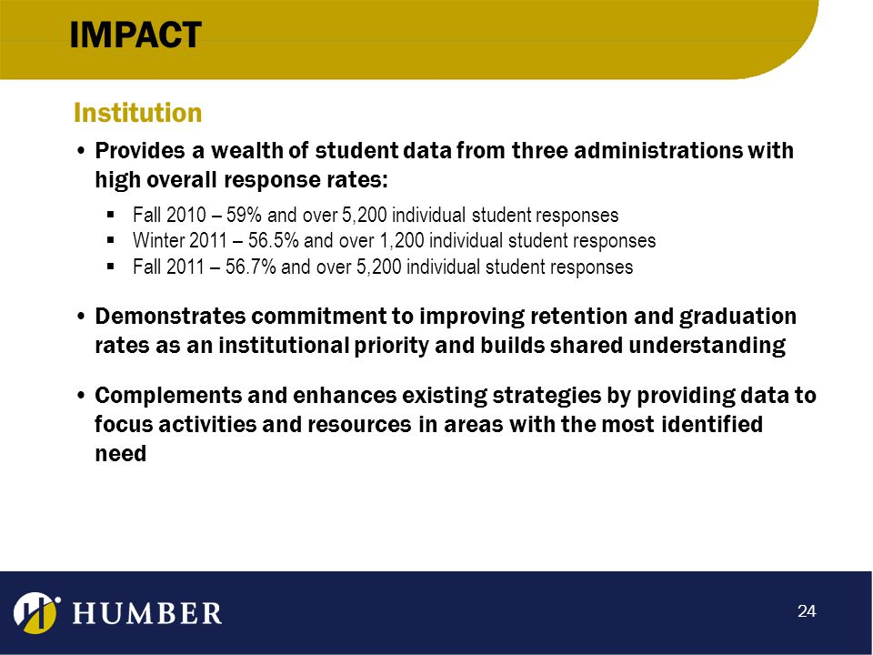 IMPACT Institution Provides a wealth of student data from three administrations with high overall response rates:  Fall 2010 – 59% and over 5,200 individual student responses  Winter 2011 – 56.5% and over 1,200 individual student responses  Fall 2011 – 56.7% and over 5,200 individual student responses Demonstrates commitment to improving retention and graduation rates as an institutional priority and builds shared understanding Complements and enhances existing strategies by providing data to focus activities and resources in areas with the most identified need 24
