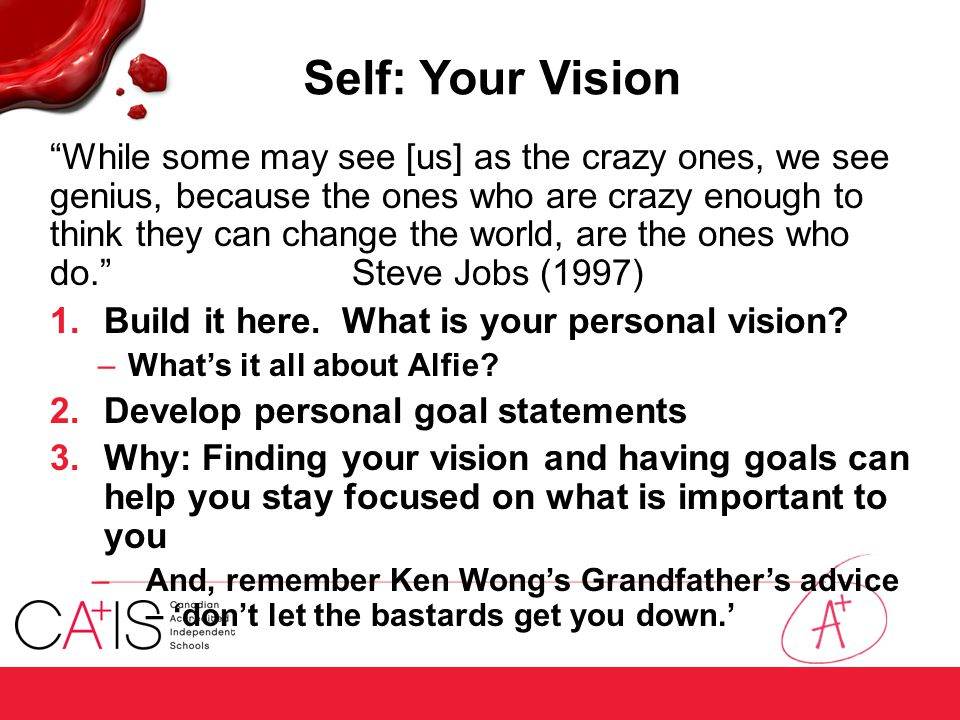 "Self: Your Vision ""While some may see [us] as the crazy ones, we see genius, because the ones who are crazy enough to think they can change the world,"