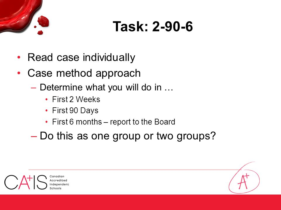 Task: 2-90-6 Read case individually Case method approach –Determine what you will do in … First 2 Weeks First 90 Days First 6 months – report to the B