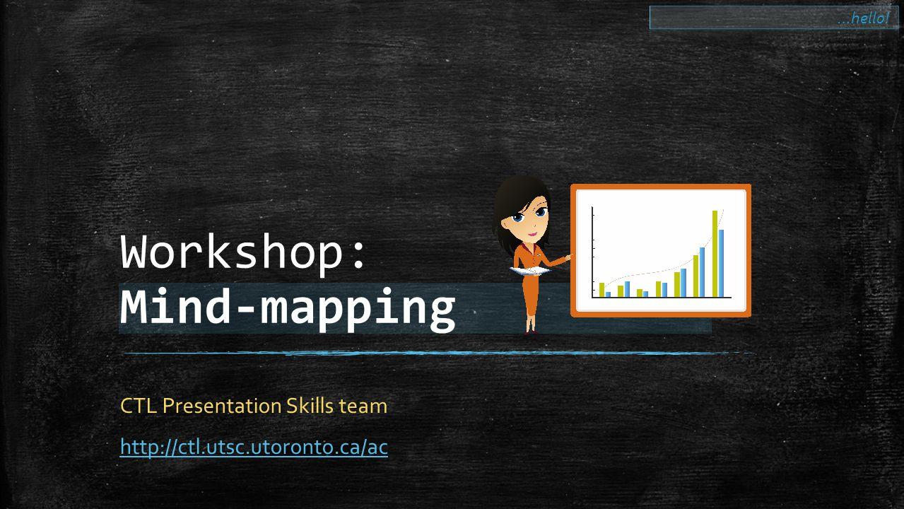 Workshop: Mind-mapping CTL Presentation Skills team http://ctl.utsc.utoronto.ca/ac …hello!