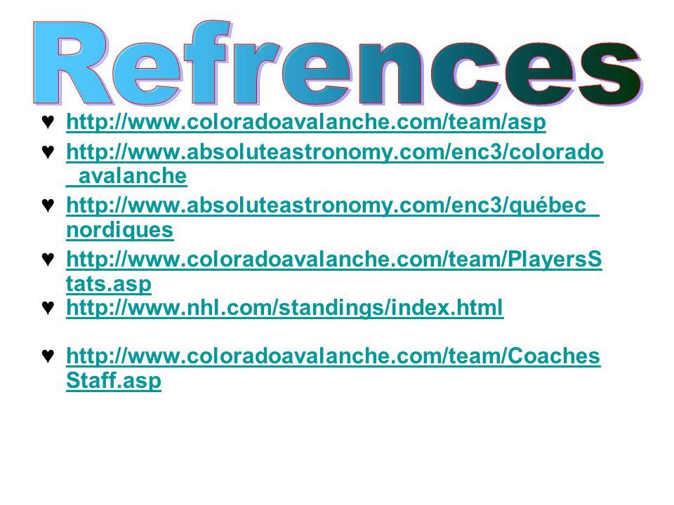♥ http://www.coloradoavalanche.com/team/asp ♥ http://www.absoluteastronomy.com/enc3/colorado _avalanche ♥ http://www.absoluteastronomy.com/enc3/québec_ nordiques ♥ http://www.coloradoavalanche.com/team/PlayersS tats.asp ♥ http://www.nhl.com/standings/index.html ♥ http://www.coloradoavalanche.com/team/Coaches Staff.asp