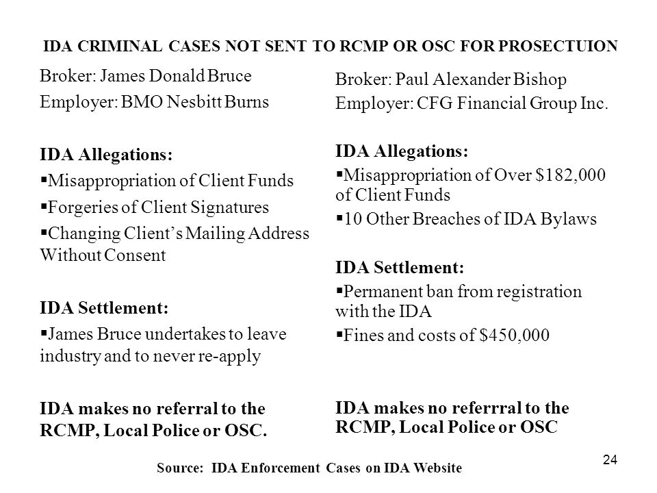 24 IDA CRIMINAL CASES NOT SENT TO RCMP OR OSC FOR PROSECTUION Broker: James Donald Bruce Employer: BMO Nesbitt Burns IDA Allegations:  Misappropriation of Client Funds  Forgeries of Client Signatures  Changing Client's Mailing Address Without Consent IDA Settlement:  James Bruce undertakes to leave industry and to never re-apply IDA makes no referral to the RCMP, Local Police or OSC.