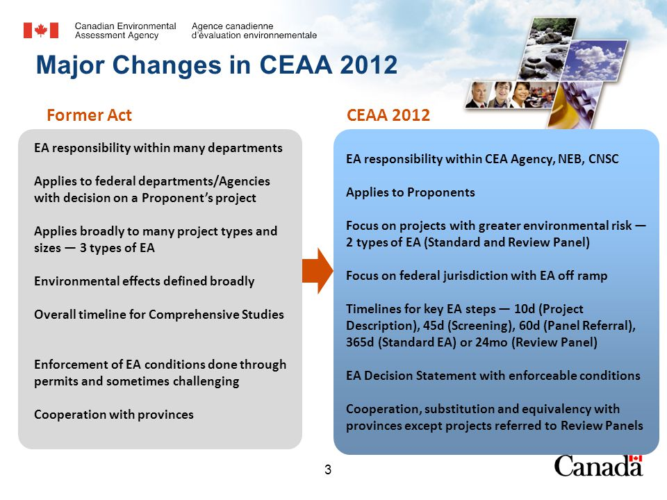 3 EA responsibility within many departments Applies to federal departments/Agencies with decision on a Proponent's project Applies broadly to many project types and sizes — 3 types of EA Environmental effects defined broadly Overall timeline for Comprehensive Studies Enforcement of EA conditions done through permits and sometimes challenging Cooperation with provinces Major Changes in CEAA 2012 -3--3- Former ActCEAA 2012 EA responsibility within CEA Agency, NEB, CNSC Applies to Proponents Focus on projects with greater environmental risk — 2 types of EA (Standard and Review Panel) Focus on federal jurisdiction with EA off ramp Timelines for key EA steps — 10d (Project Description), 45d (Screening), 60d (Panel Referral), 365d (Standard EA) or 24mo (Review Panel) EA Decision Statement with enforceable conditions Cooperation, substitution and equivalency with provinces except projects referred to Review Panels